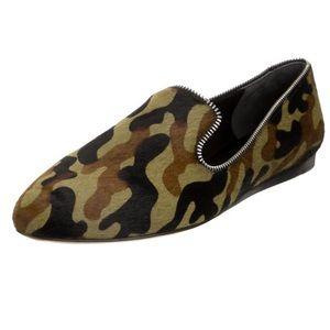 Veronica beard camouflage zipper calf hair flats 7